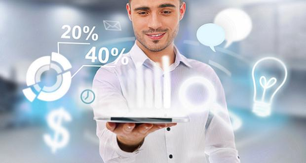 Adult business man holding tablet computer and different icons o