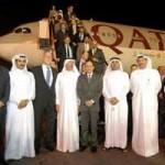 Arrivée à Doha d'un vol commercial de Qatar Airways au GTL